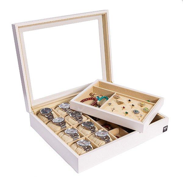 Estojo Porta 8 Relógios & Jóias Nobre Madeira Laqueada | Branco Bege