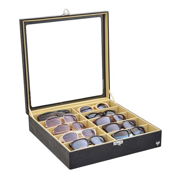 Estojo Porta Óculos 10 Nichos Couro Ecológico | Preto Bege