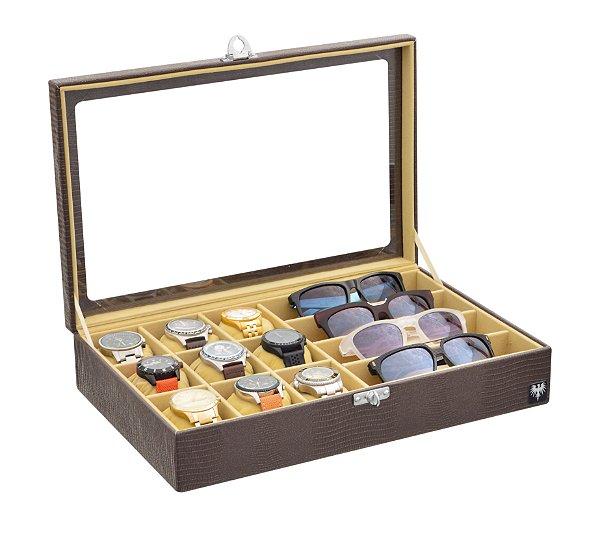 Estojo Porta 9 Relógios e 4 Óculos Couro Ecológico | Marrom Bege