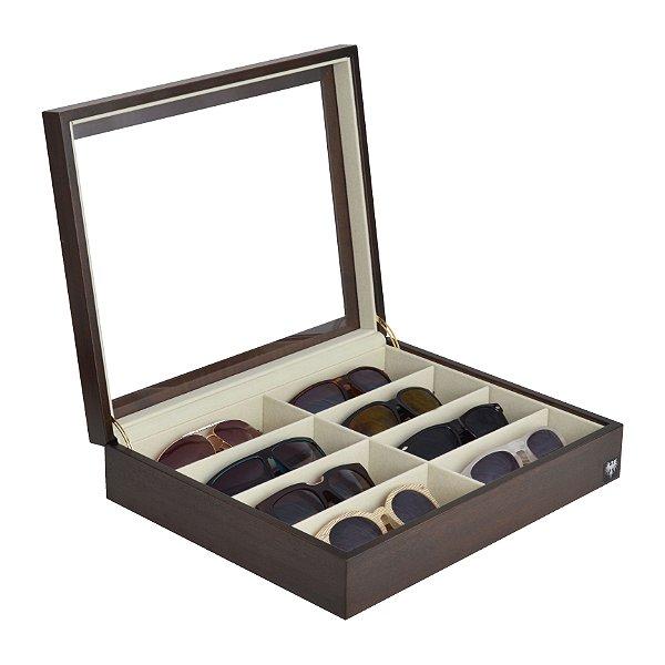 Estojo Porta Óculos 8 Nichos Nobre Madeira | Tabaco Bege