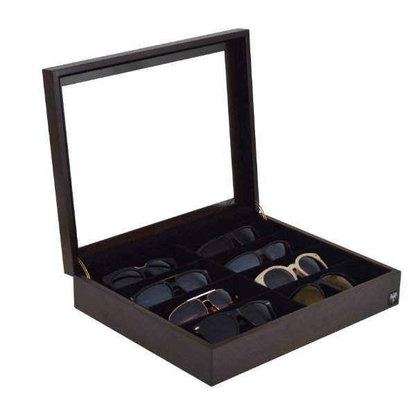Estojo Porta Óculos 8 Nichos Nobre Madeira | Tabaco Preto