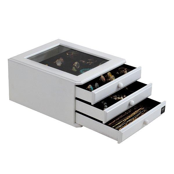 Porta Jóias MDF Laqueado 3 Gavetas 24 Nichos | Branco com Preto
