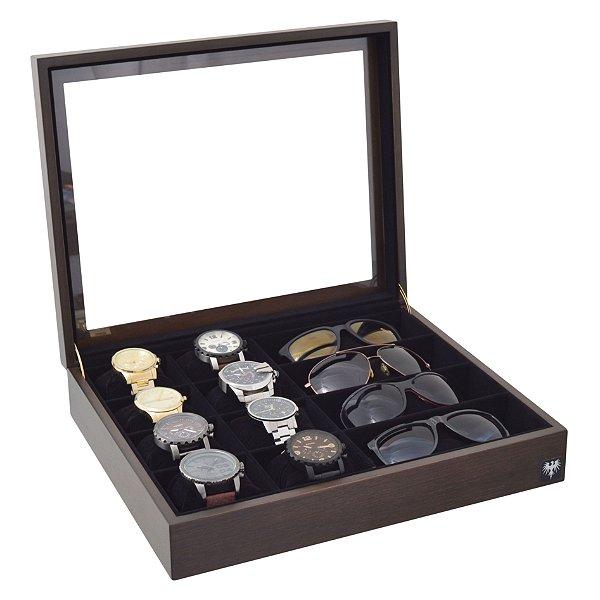 Estojo Porta 8 Relógios e 4 Óculos Nobre Madeira | Tabaco Preto