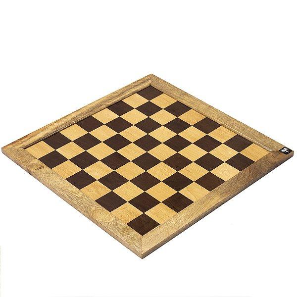 Tabuleiro de Xadrez em Madeira Maciça Marchetado com Casas 5x5cm