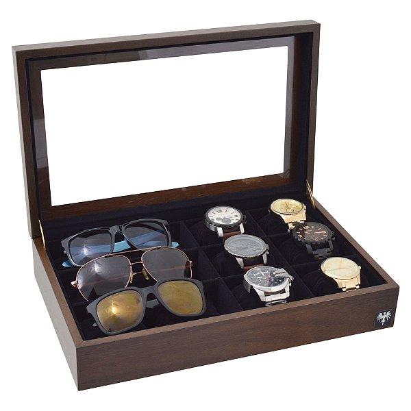 Estojo 6 Relógios 3 Óculos Nobre Madeira Tabaco com Preto