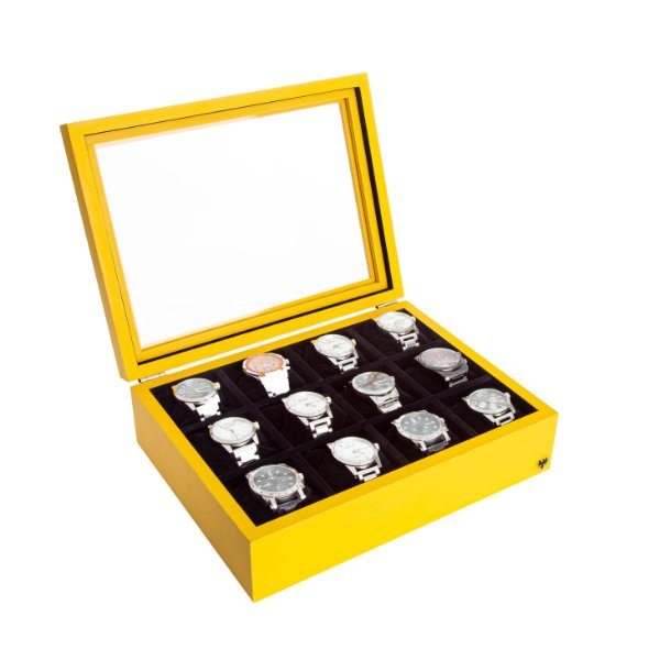 Estojo Porta Relógio 12 Nichos Minimal Madeira   Amarelo Preto