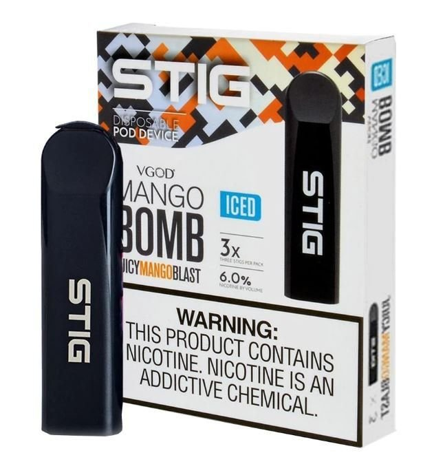 Pod System Descartável (Disposable Pod Device) Stig - Mango Bomb Iced | Vgod