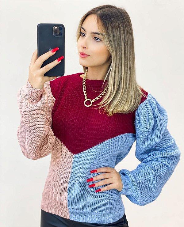 Blusa Tricot Tricolor