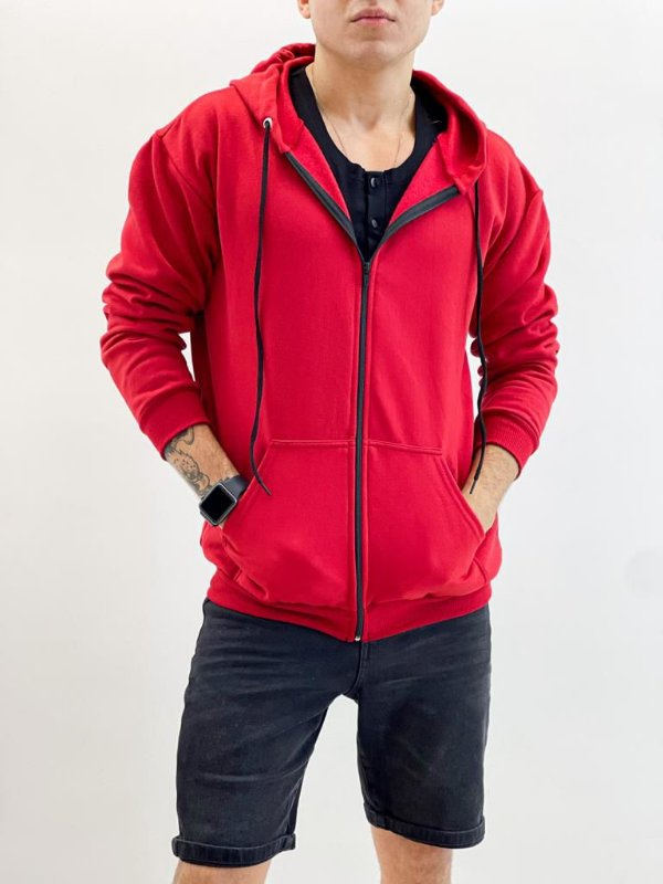 Blusa Moletom Zíper Vermelha
