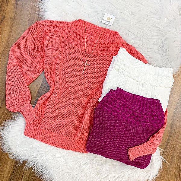 Blusa Tricot Detalhe Bolha (Diversas Cores)