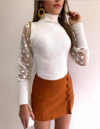 Blusa Tricot Lã c/ Tule Poa