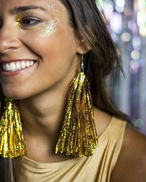 Brincos Fita Metalizada Carnaval