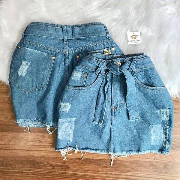 Saia Jeans Laço
