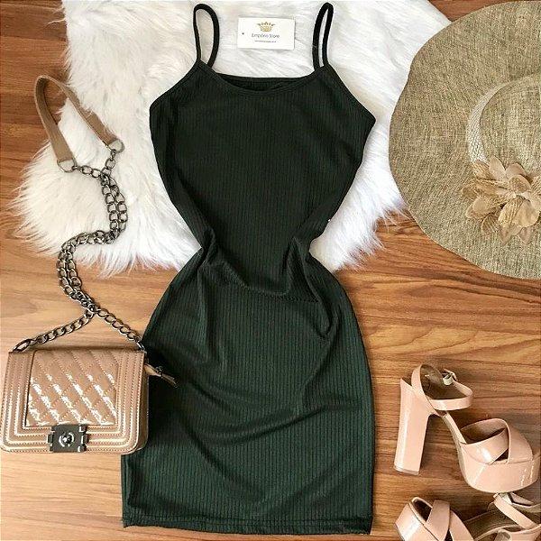 Vestido Alça Verde Militar