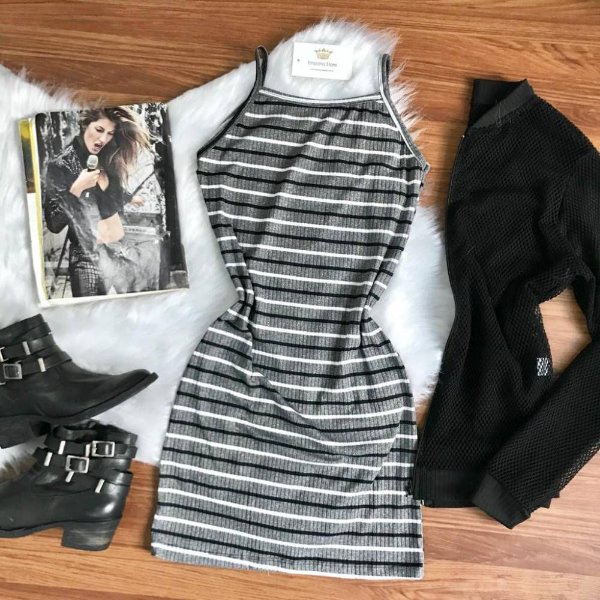 Vestido Alcinha Cinza B&W
