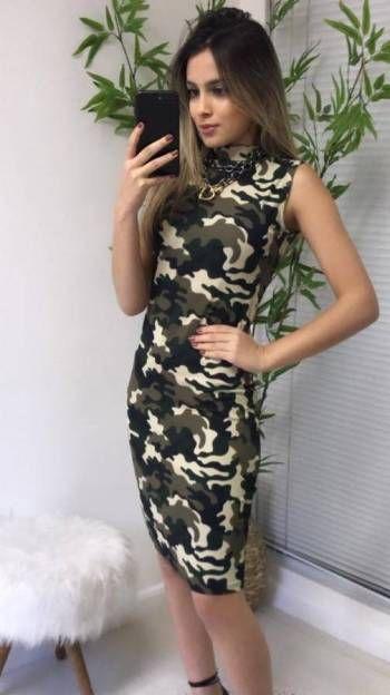 Vestido Camuflagem Canelado