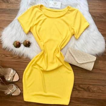 Vestido Manguinha Amarelo