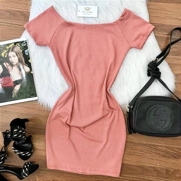 Vestido Manguinha Rosa