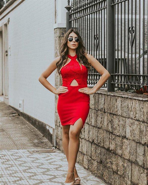 Vestido Natasha Renda c/ Crepe