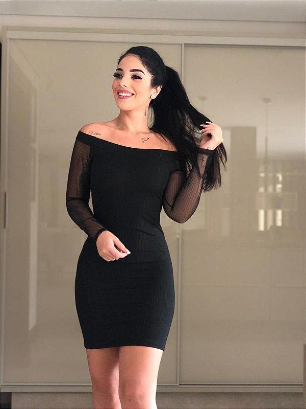 Vestido Yeda Malha Canelada c/ Renda