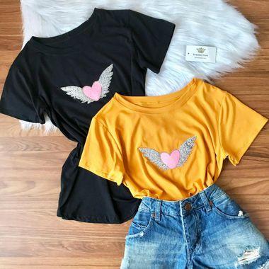 T-shirt Coração De Anjo Viscomalha