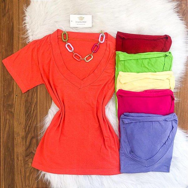 Blusa T-shirt Viscomalha (Diversas Cores)