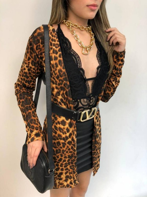 Cardigan Animal Print Viscomalha