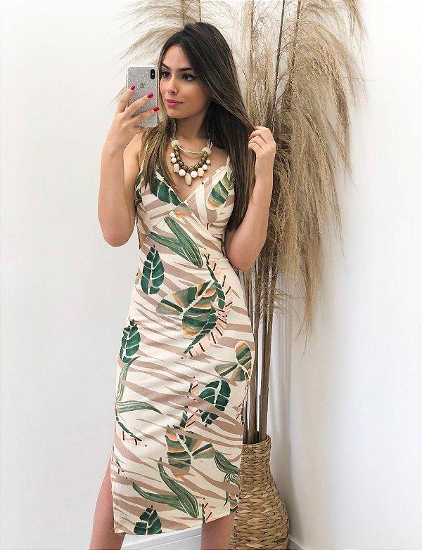 Vestido Canelado Estampado