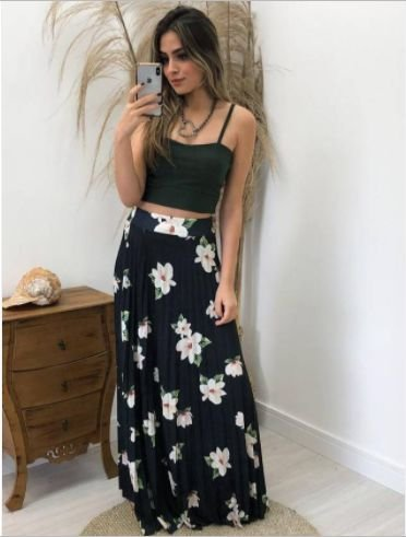 Saia Flores Plissada