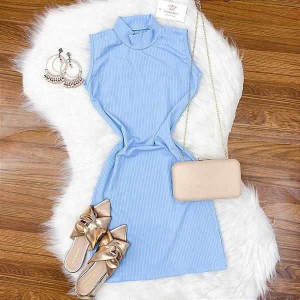 Vestido Gola Regata Canelado