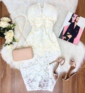 Vestido Renda Decote (Diversas Cores)