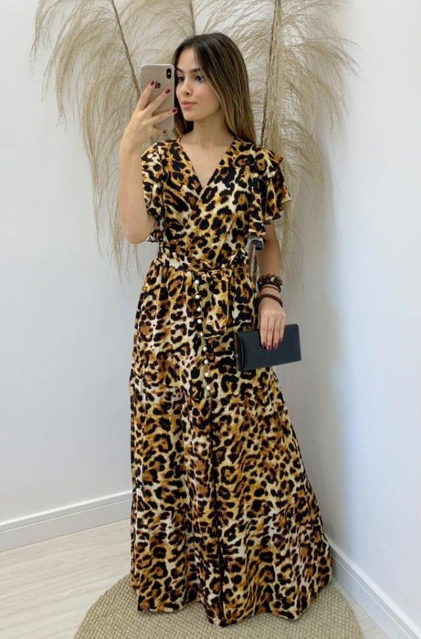 Vestido Animal Print Viscose