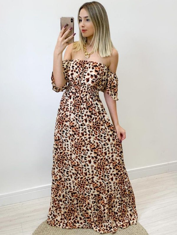 Vestido Viscose Animal print