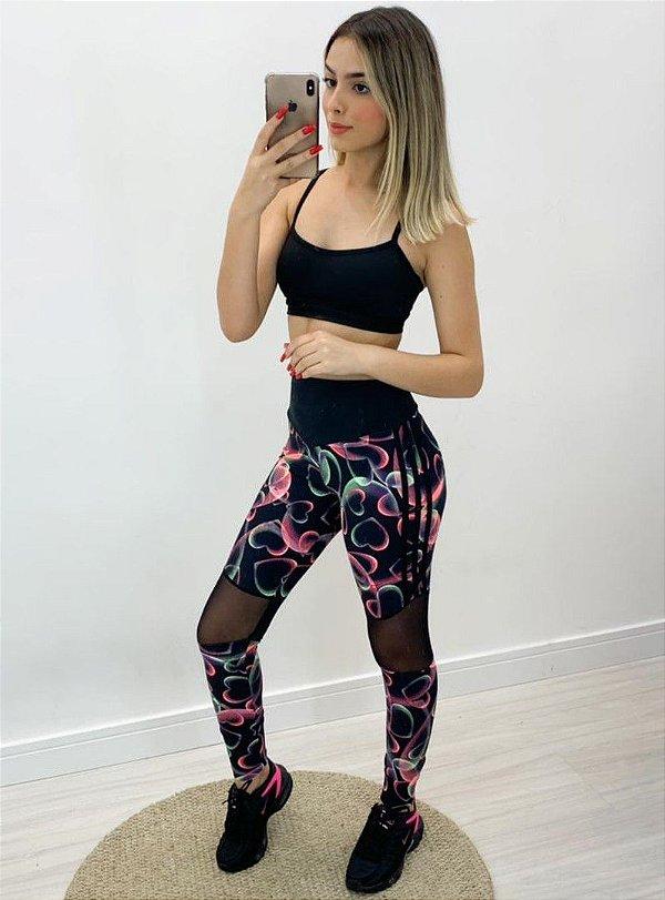 Calça Legging Tule Estampada