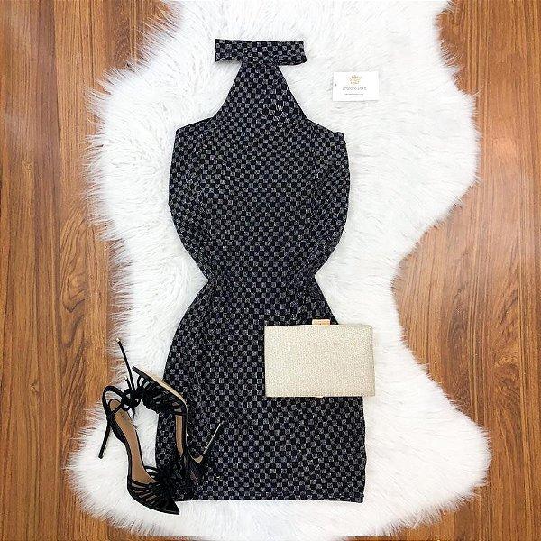 Vestido Gola Lurex