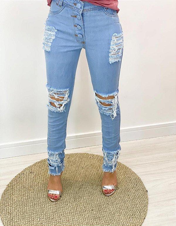 Calça Jeans Botão