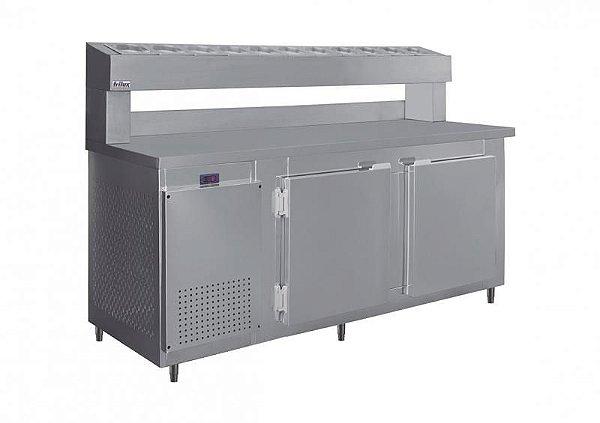REFRIGERADOR HORIZONTAL FRILUX COM CODIMENTADORA 190CM RF-041 INOX 220V
