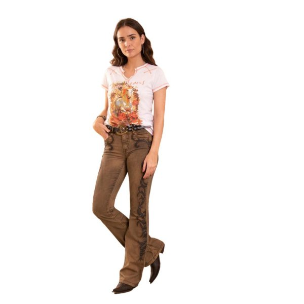 Calça Tassa Jeans Feminina Ocre
