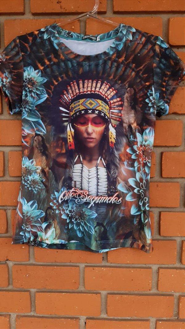 T- Shirt Feminina 8 segundos Índia Strass