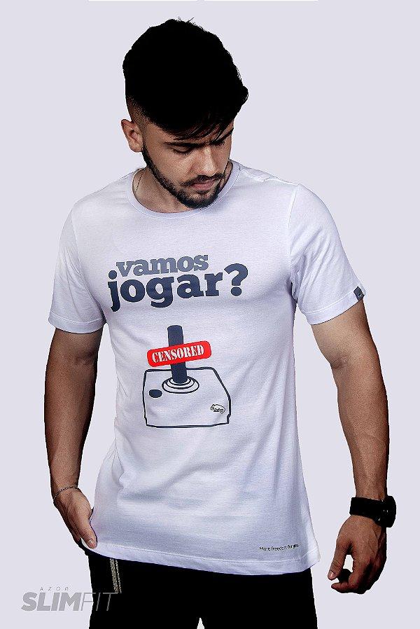 Camiseta Camiseta Slim Fit Azor Vamos Jogar Branca
