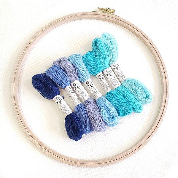 Fios de lã para bordado Fine | Tons de azul | Fios da Fazenda