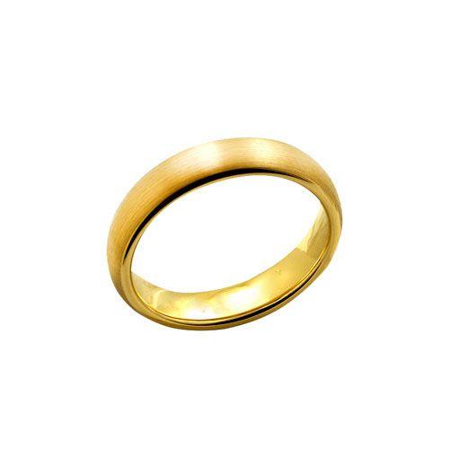 Anel Tungstenio 5mm Dourado Escovado