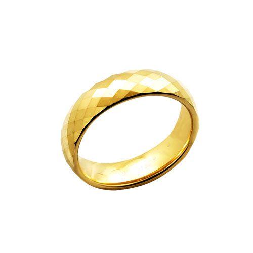 Anel Tungstenio 6mm Dourado Facetado