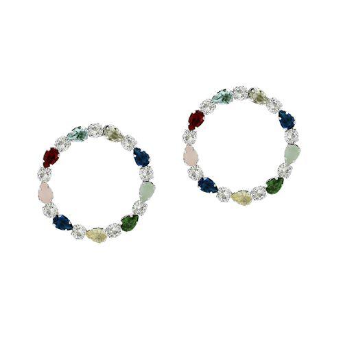 Brinco de Rodio Circulo com Zirconias Redondas e Pedras Gotas