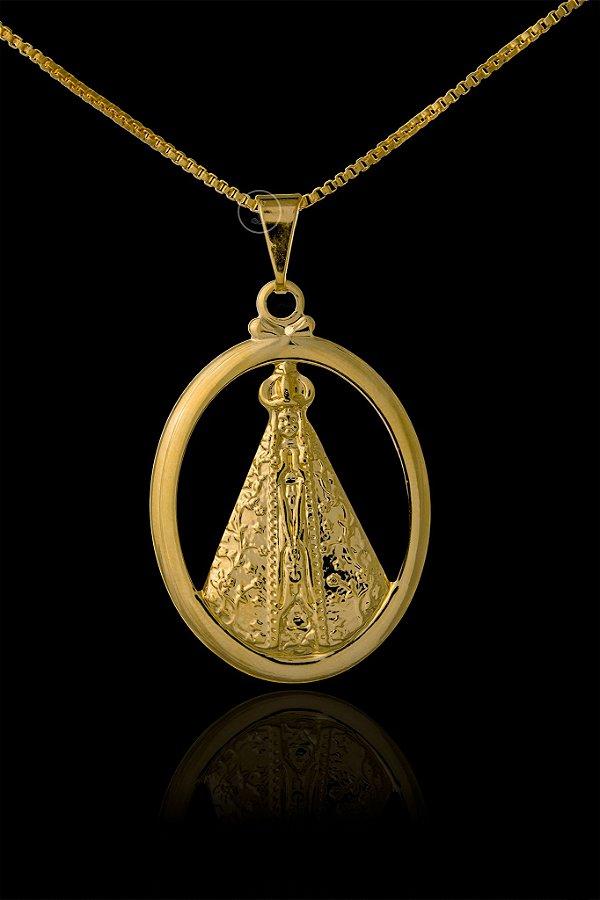 Pingente  Nossa Senhora Oval Vazada - 2,5 X 3,5cm - Banhado a ouro 18k