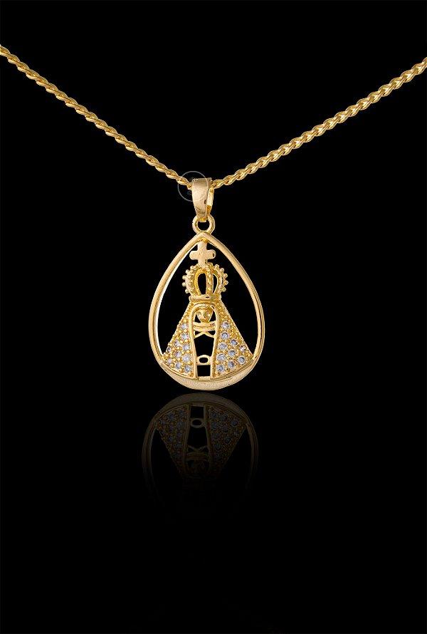 Pingente  Nossa Senhora Gota Cravejada - 1,5 X 2,7cm - Banhado a ouro 18k