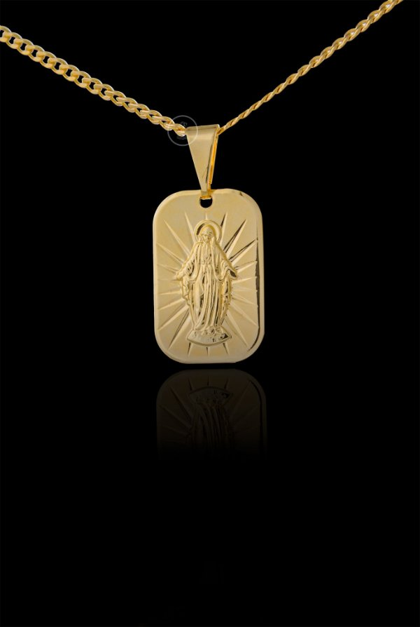 Pingente  Nossa Senhora Diamantada Placa - 1,3 X 2cm - Banhado a ouro 18k