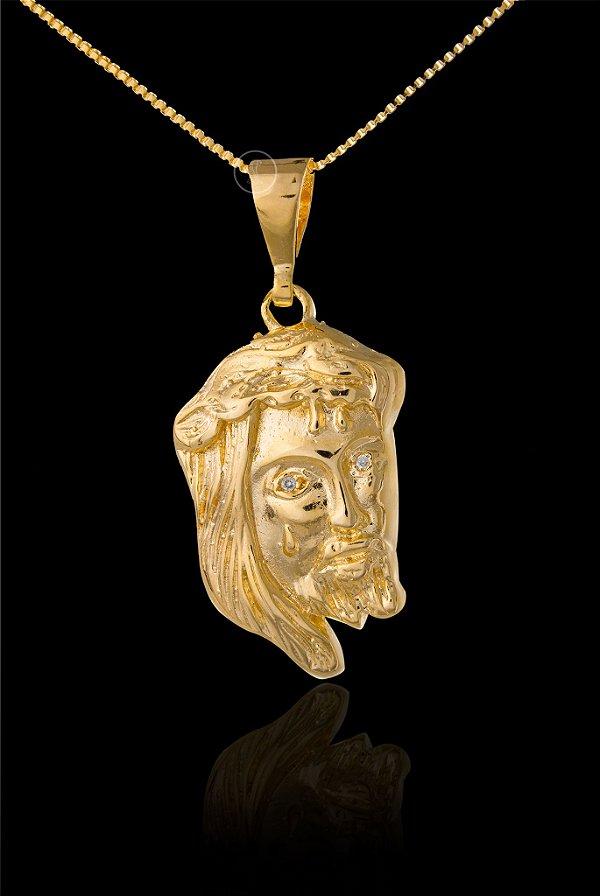 Pingente Face De Cristo com Zircônia nos olhos  - 2,2 X 3,6cm - Banhado a ouro 18k