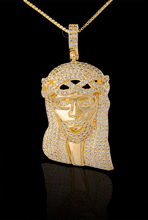 Pingente Face De Cristo Cravejada Grande - 2,3 X 4,8cm - Banhado a ouro 18k