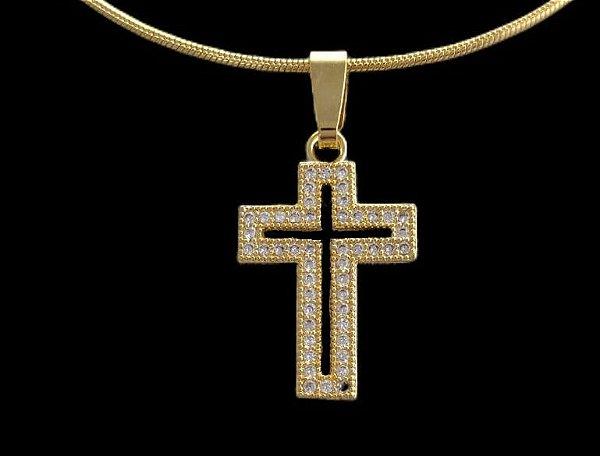 Pingente Cruz Vazada Cravejada com Zircônia - 1,3 X 2,1cm - Banhado a ouro 18k